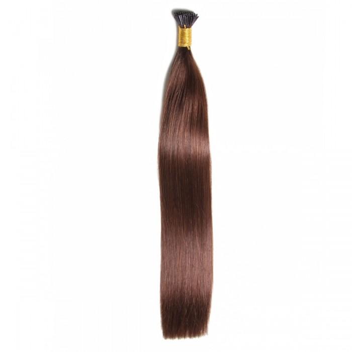 Kriyya 100% Remy I-Tip Hair Extensions-Dark Brown