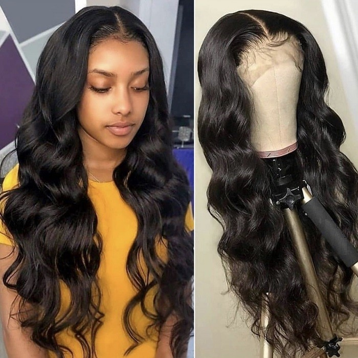 Kriyya 150% Density Body Wave Human Hair Wig Pre-Plucked 13X4 Transparent Lace Front Wigs