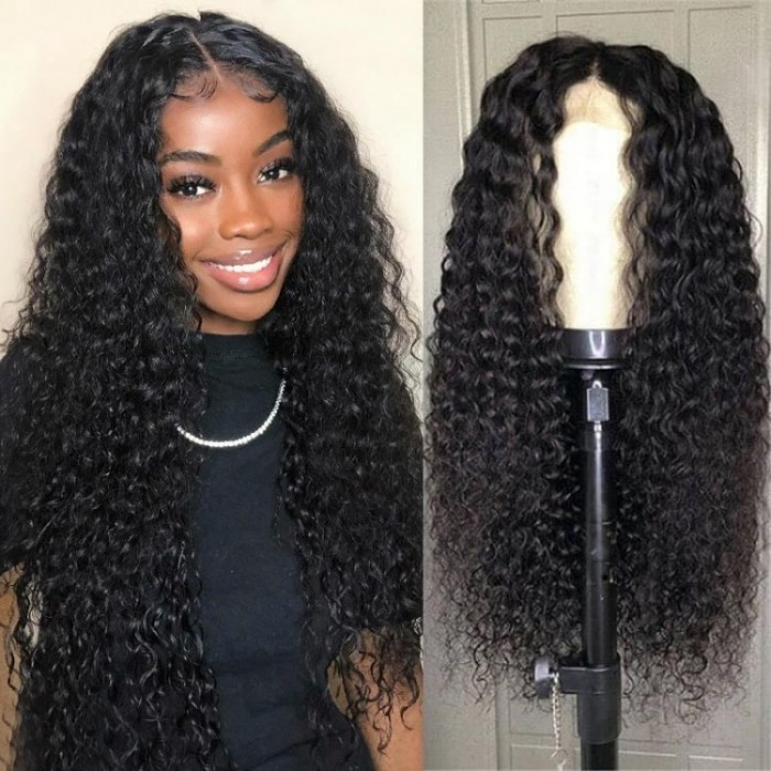 Kriyya 13x4 Lace Front Curly Wig Pre-Plucked Human Hair Wig 150% Density