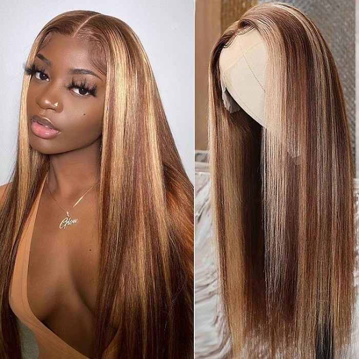 Kriyya 13x4 Straight Wigs Lace Front Wigs Honey Blonde Highlight Human Hair Wigs With Streaks 150% Density