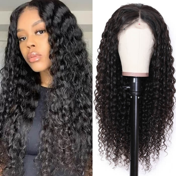 Kriyya 13x6 Lace Frontal Jerry Curly Human Hair Wigs 150% Density