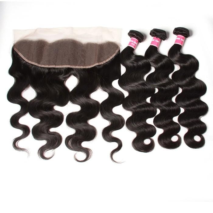 Kriyya Peruvian Unprocessed Human Hair Body Wave 3 Bundles With 13*4 Lace Frontal