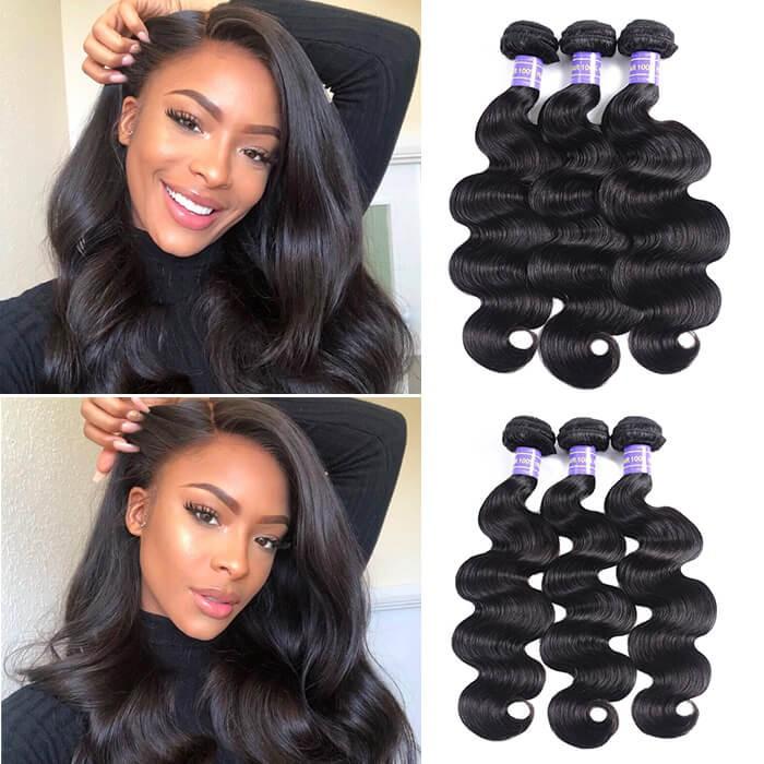 Kriyya Body Wave Weave 3 Bundles Brazilian Virgin Hair Natural Color