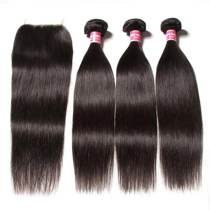Kriyya New Straight 3 Bundles With 4*4 Transparent Lace Closure Malaysian 100% Virgin Hair