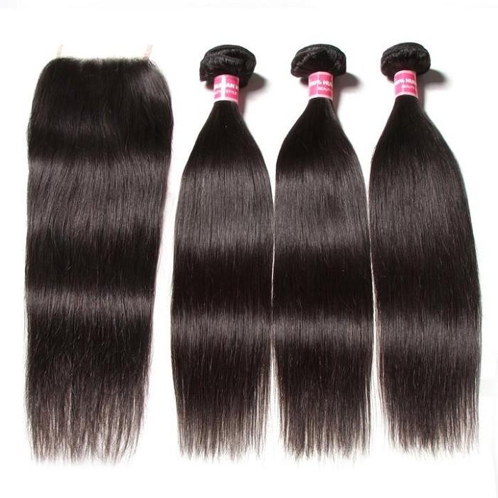 Kriyya Peruvian Unprocessed Virgin Hair 3 Pcs Straight With 4*4 Transparent Lace Closure