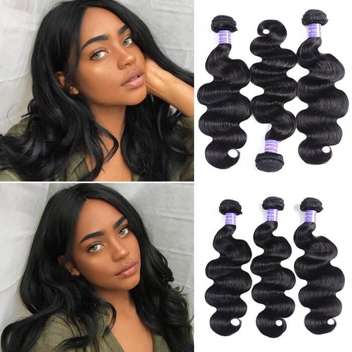 Kriyya Body Wave Bundles 3 Bundles Indian Unprocessed 7A Human Hair Weave