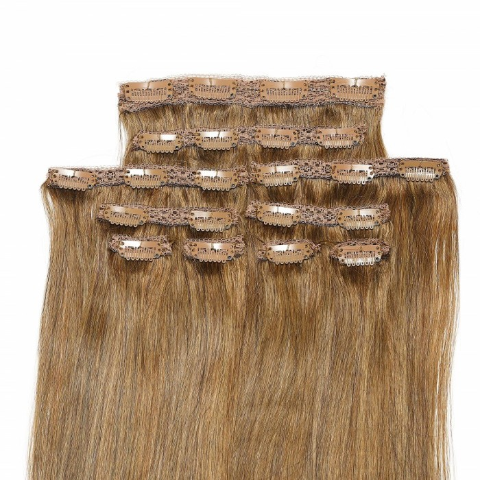 Kriyya 220g Best Clip In Hair Extensions For Short Hair Medium Golden Brown Human Hair Extensions