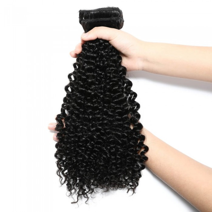 Kriyya Curly Clip Ins Hair Extenstions 18 Inch Natural Black Human Hair Extensions