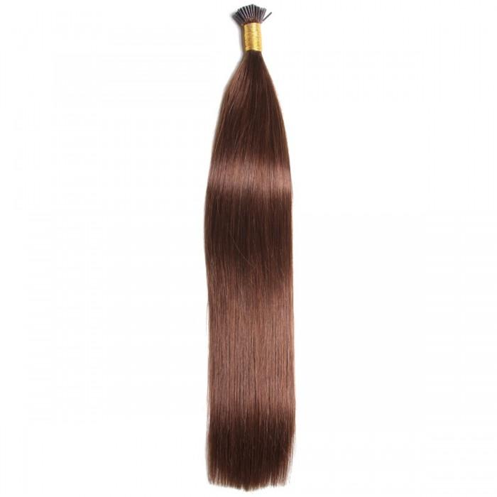 Kriyya 100% Remy I-Tip Hair Extensions-Chocolate Brown