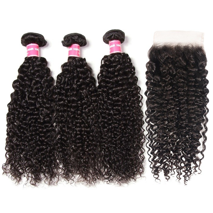 Kriyya Jerry Curly 3 Bundles With 5*5 Lace Closure Indian Virgin 100 Human Hair