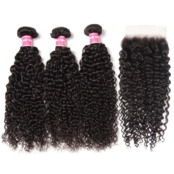 Kriyya Malaysian Virgin 100 Human Hair Jerry Curly 3 Bundles With 5*5 Lace Closure