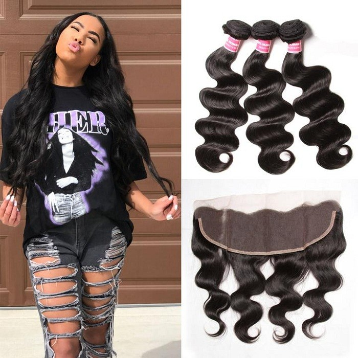 Kriyya 3 Pcs Body Wave Virgin Hair With 13*4 Lace Frontal Indian Hair