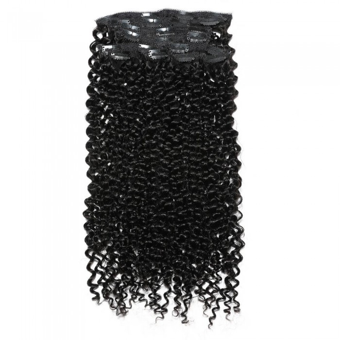 Kriyya Remy Curly Clip In Hair Extensions Natural Black 22 Inch Hair Extensions