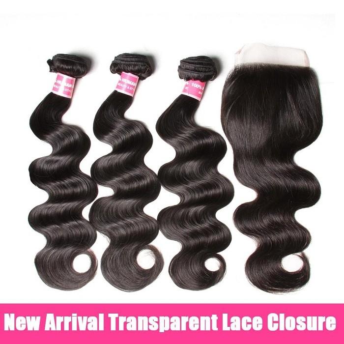 Kriyya 3 Bundles Body Wave Unprocessed Virgin Hair With 4*4 Transparent Lace Closure
