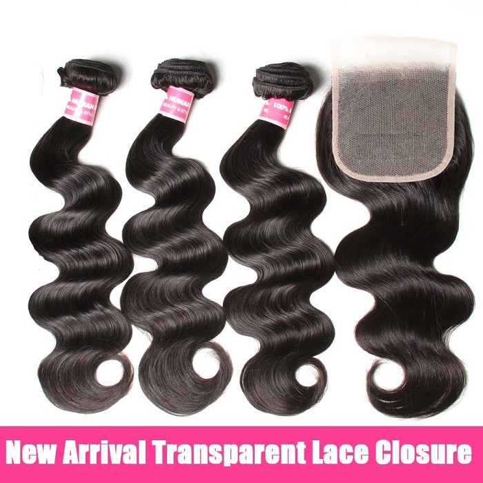 Kriyya Body Wave 100% Human Hair 3 Bundles With 4*4 Transparent Lace Closure