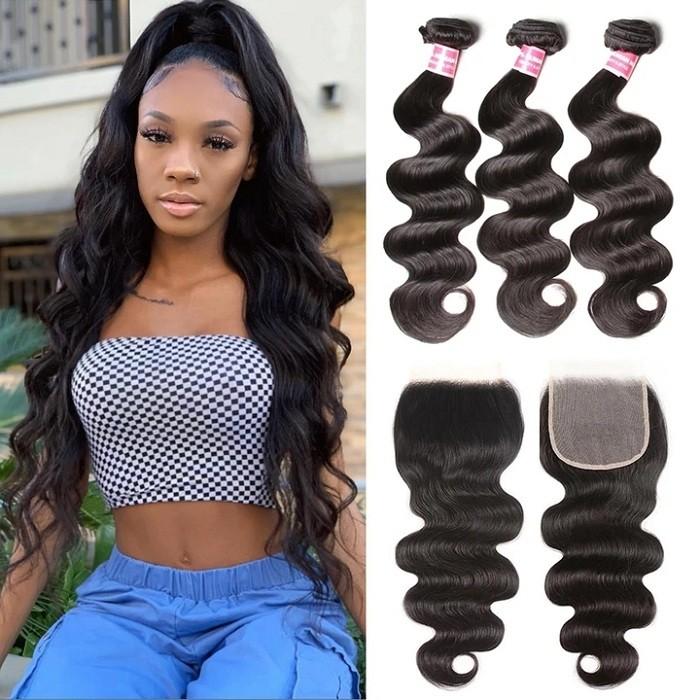 Kriyya Malaysian Human Hair 3 Bundles Body Wave Virgin Hair With 6*6 Lace Closure