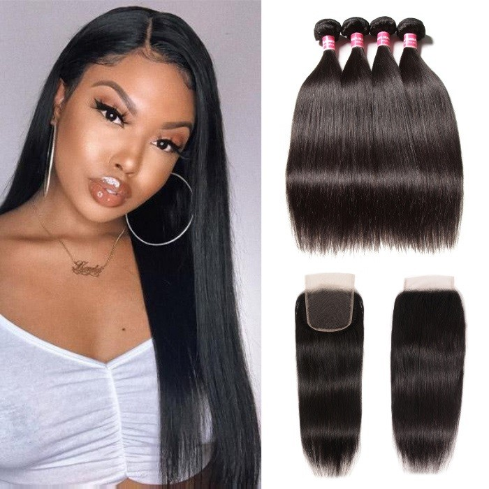 Kriyya 4 Pieces Straight Indian Hair Bundles With 4X4 Lace Closure