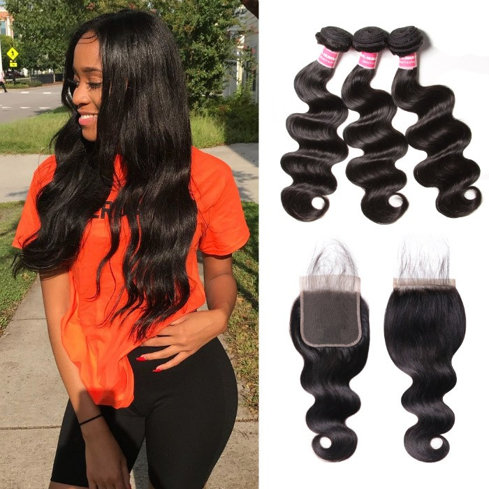 Kriyya Body Wave 3 Bundles With 5*5 Lace Closure Peruvian Virgin Hair