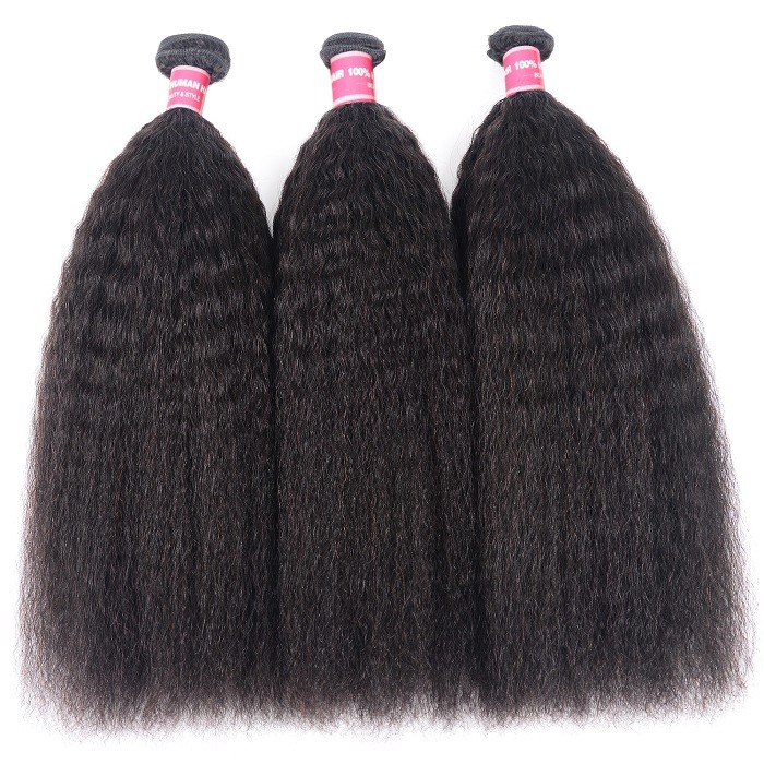 Kriyya Kinky Straight Peruvian Unprocessed Human Hair Bundles 3 Bundles