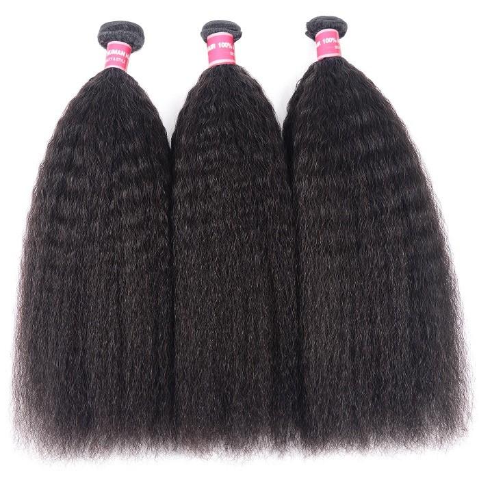 Kriyya Kinky Straight Hair 3 Bundles Malaysian 100% Real Human Hair Weave