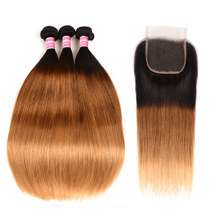 Kriyya Indian Hair T1B/4/27 Ombre 3 Pcs Straight Hair Bundle Deals With 4x4 Lace Closure