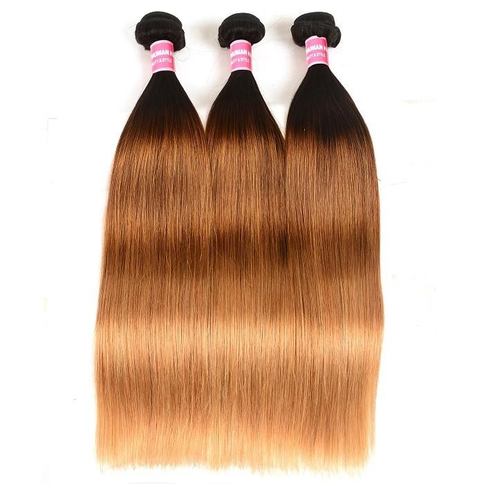 Kriyya Straight Hair 3 Pcs T1B/4/27 Ombre Brazilian Hair 100% Real Human Hair Weave