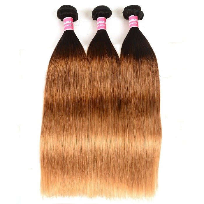 Kriyya Straight Hair 100% Human Hair Bundles 3 Pcs Indian Hair Three Tone Ombre
