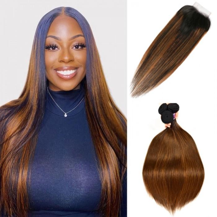 Kriyya Caramel Balayage Highlights Color Straight 4X4 Lace Closure With 3 Bundles Virgin Hair