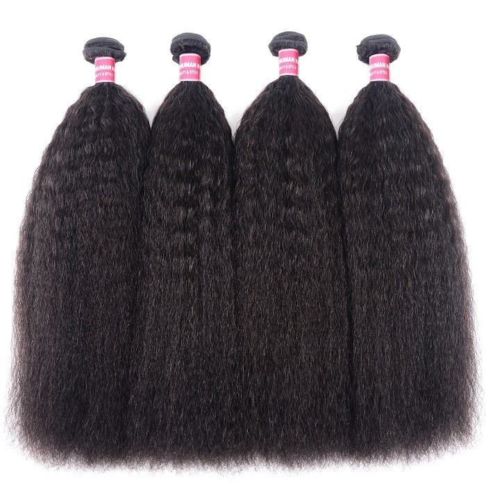 Kriyya Kinky Straight Peruvian Virgin Hair 4 Pcs 100 Human Hair Weave