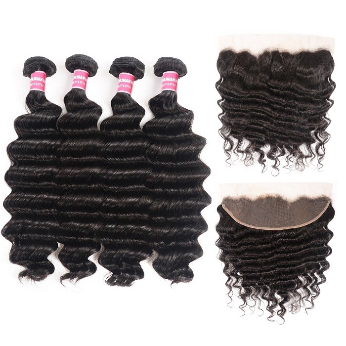 Kriyya Peruvian Loose Deep Wave 4 Bundles Quick Sew In Weave With Lace Closure 13x4 Inch
