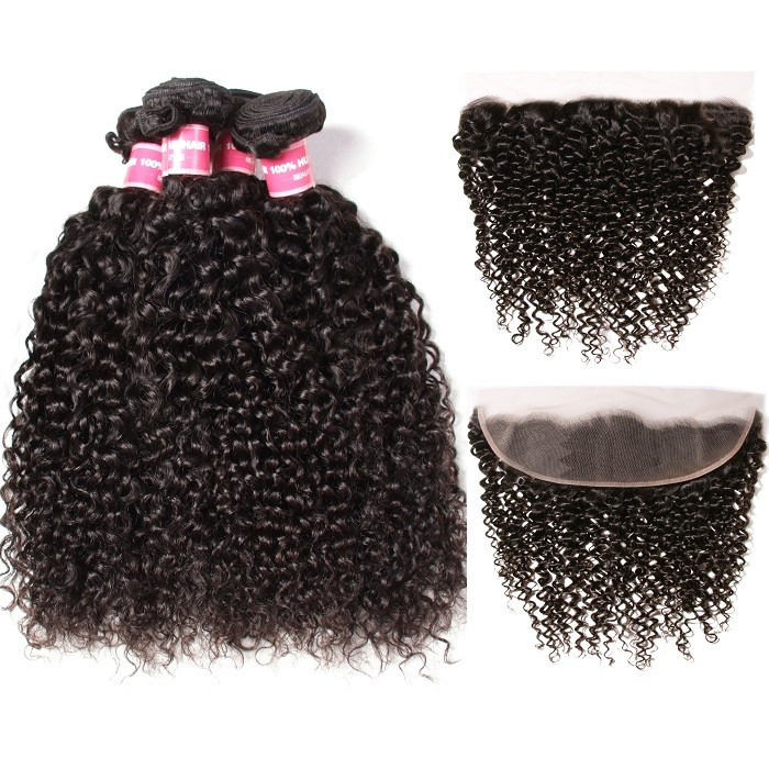 Kriyya Brazilian Curly Hair 4 Bundle Deals With 13x4 Transparent Lace Frontal Closure