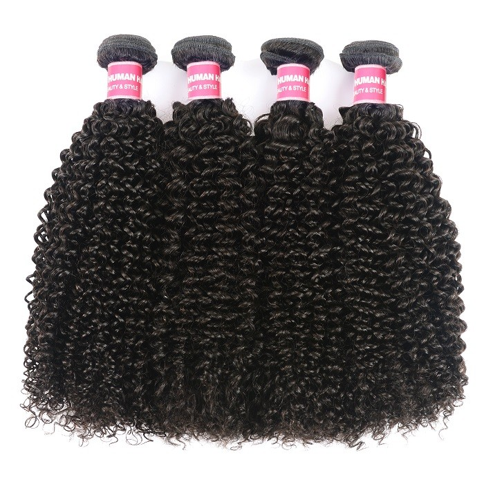 Kriyya Kinky Curly Weave Human Hair 4 Bundles Peruvian 100 Human Hair