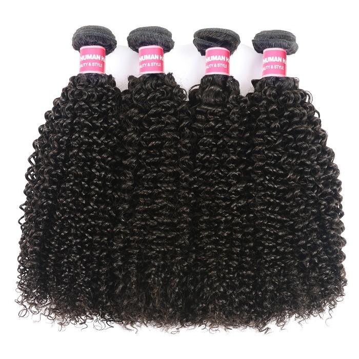 Kriyya Kinky Curly 4 Bundles Malaysian Unprocessed Human Hair Weave