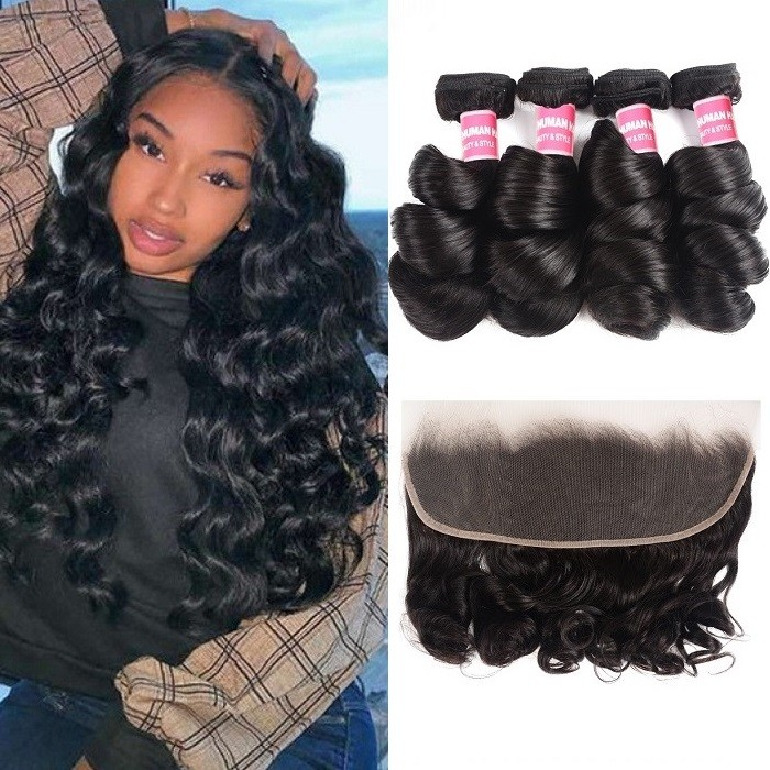 Kriyya Indian Remy Hair Wet And Wavy Hair Loose Wave 4 Bundles With 13x4 Lace Frontal Closure