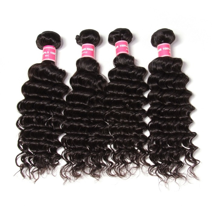Kriyya 4 Pcs Brazilian Deep Wave Human Hair Weave 9A Virgin Hair