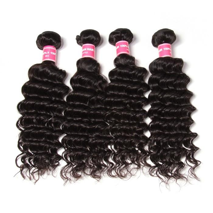 Kriyya Indian Hair Deep Wave Weave Human Hair 4 Bundles 9A Virgin Hair