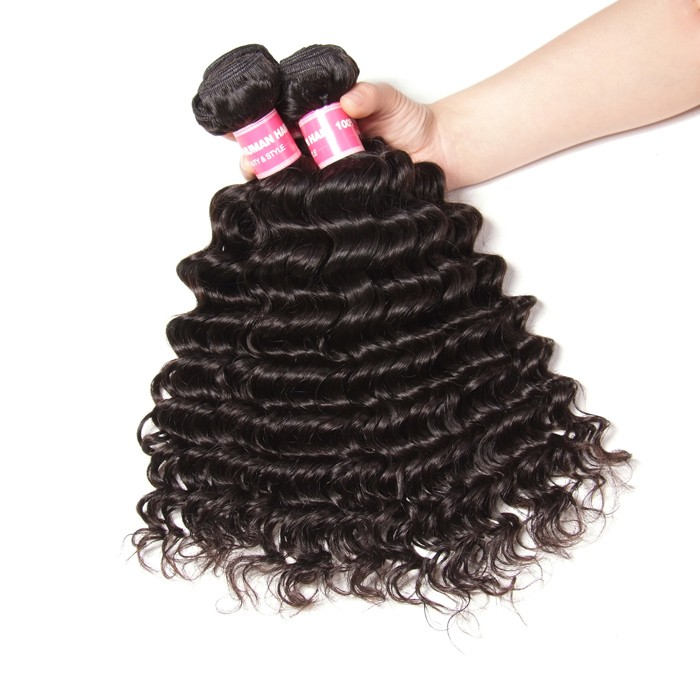 Kriyya Deep Wave 4 Bundles 100 Human Hair Bundles Peruvian 9A Virgin Hair