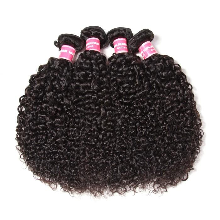 Kriyya 4 Pcs Brazilian Curly Human Hair Bundles Virgin Hair 9A Virgin Hair