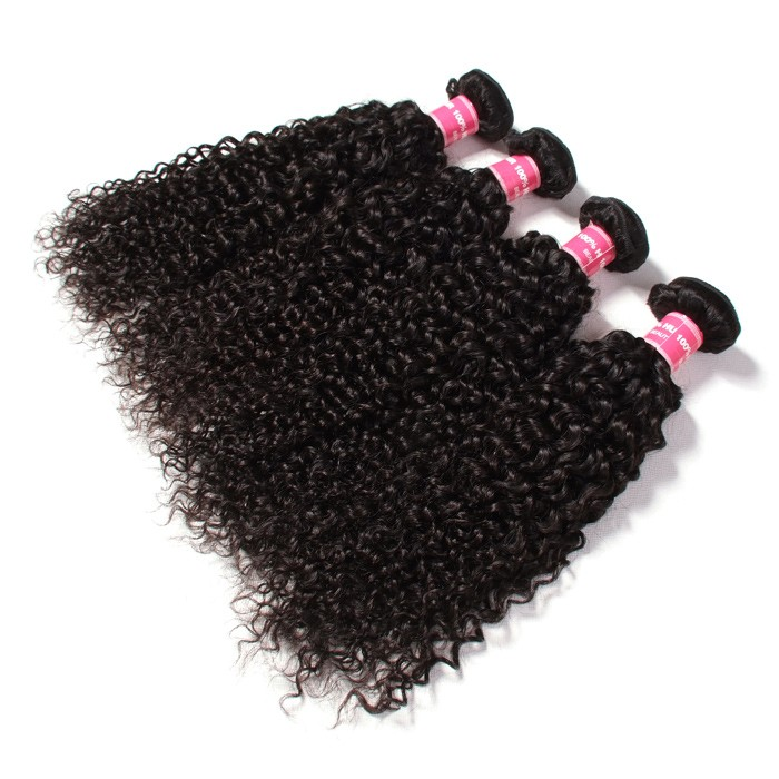 Kriyya Malaysian Curly Human Hair Weave 4 Hair Bundles 9A Virgin Hair