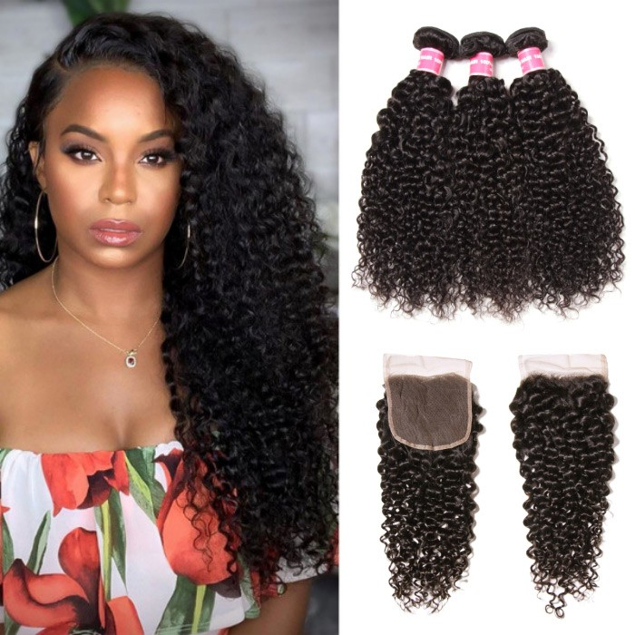 Kriyya Brazilian Curly Hair Weave 3 Bundles Deals With Closure 4X4 Inch Natural Color