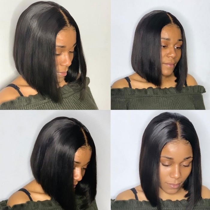 Kriyya Natural Hairline 13x4 Lace Front Bob Wig Hand-tied Straight Bob Wigs