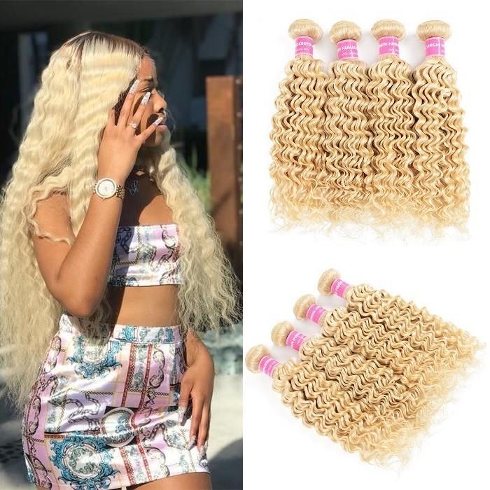 Kriyya Deep Wave Hair 613 Blonde Hair 4 Bundles Peruvian Human Hair