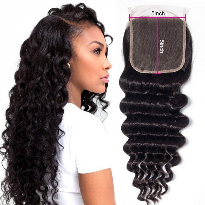 Kriyya 5x5 HD Lace Closure Deep Wave Virgin Hair Transparent Lace Closure
