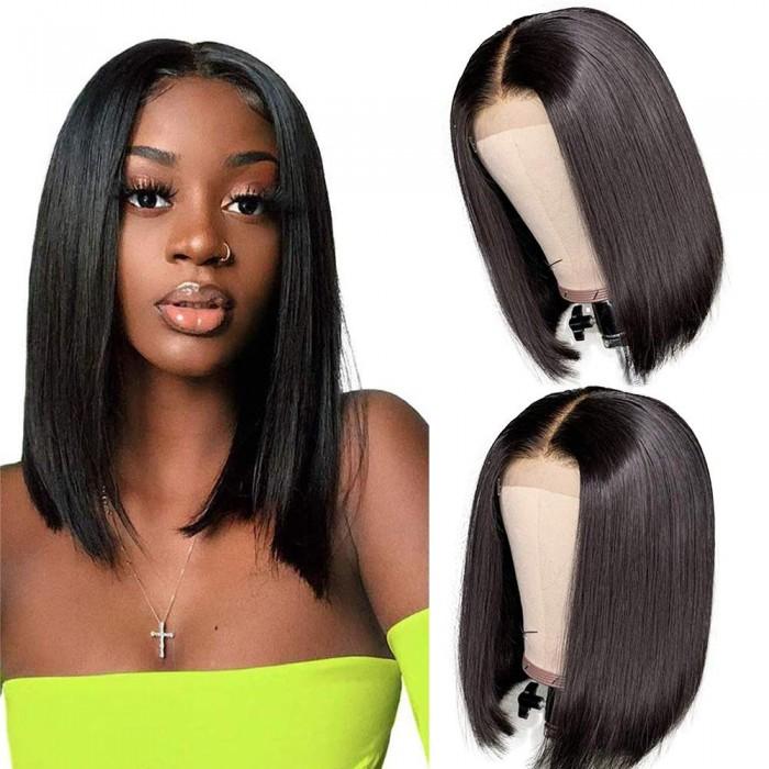 Kriyya Straight Short Human Hair Wigs 13x4 150% Density Blunt Cut Bob Lace Front Wig Remy Wig