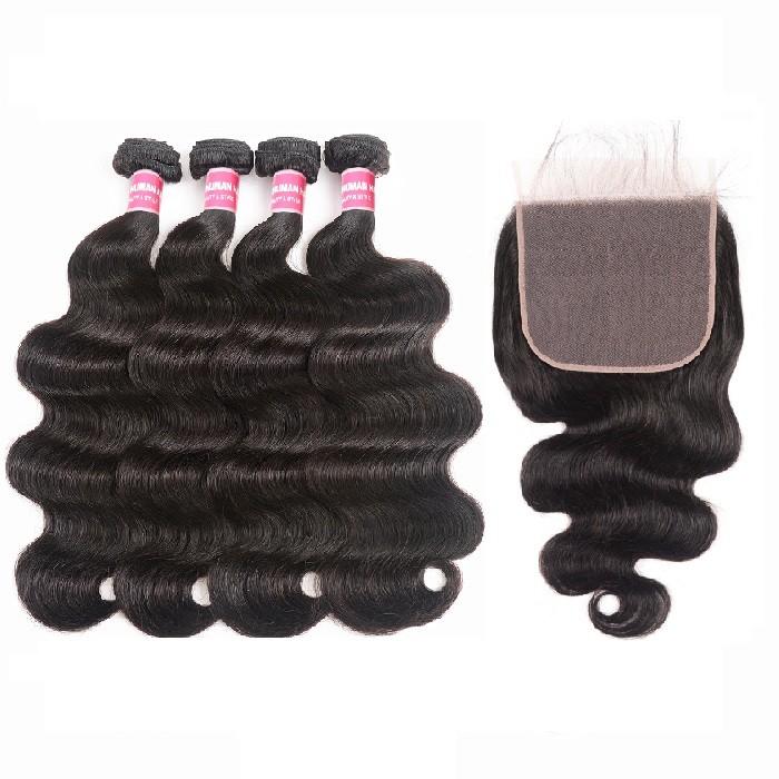 Kriyya Body Wave Malaysian Human Hair 4 Bundles With Closure Free Part