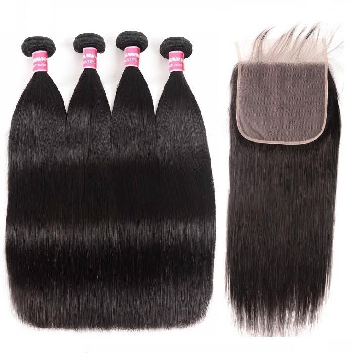 Kriyya Straight Malaysian Hair 4 Bundles With 7x7 Free Part Closure