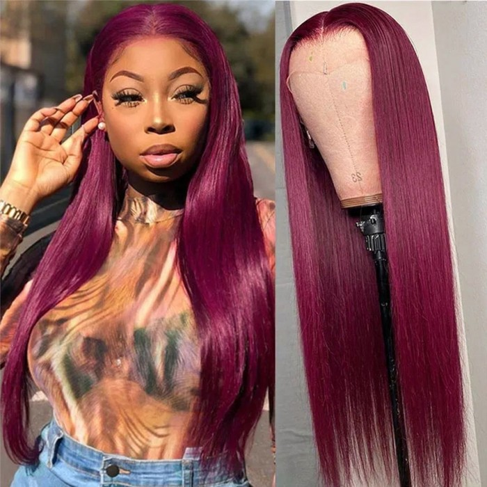 Kriyya Hand-tied Lace Wigs Burgundy Human Hair Straight  Lace Part Wig 150% Density