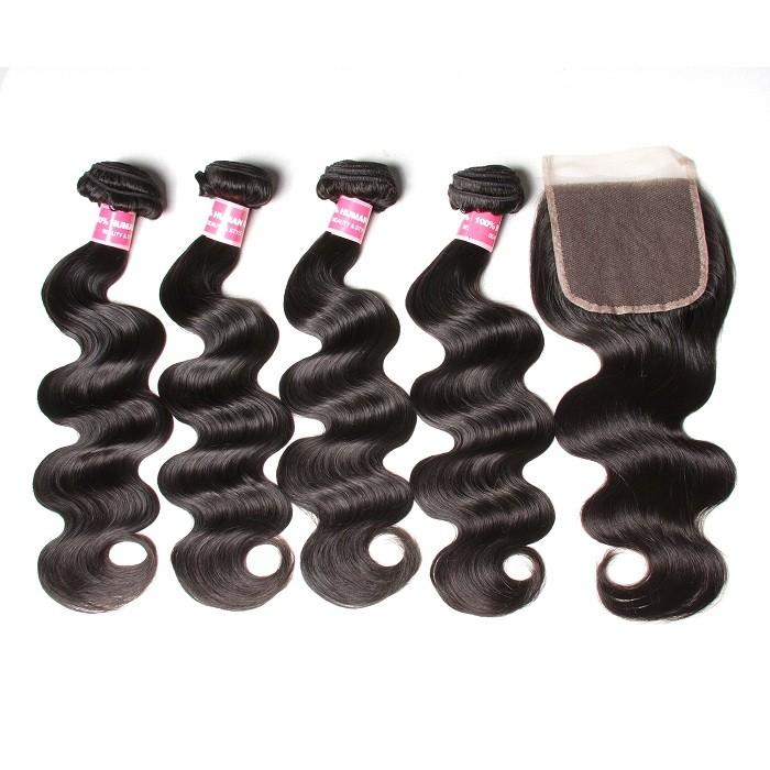 Kriyya 4 Bundles With 5x5 Lace Closure Peruvian Body Wave Virgin Hair