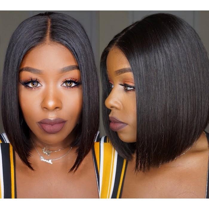 Kriyya Hand-tied 4x4 Lace Closure Straight Bob Wig Natural Hairline 150% Density