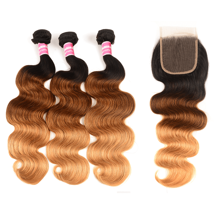Kriyya Indian Human Hair Three Tone Ombre Body Wave 3 Bundles With Lace Closure 4x4 Inch